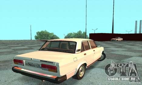 Vaz-2107 v. 3 para GTA San Andreas traseira esquerda vista