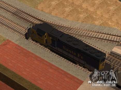 SD 40 UP BN Santa Fe para GTA San Andreas esquerda vista