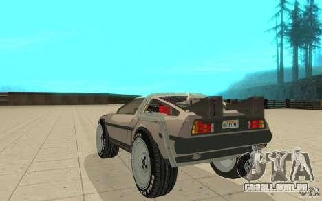 DeLorean DMC-12 (BTTF1) para GTA San Andreas traseira esquerda vista