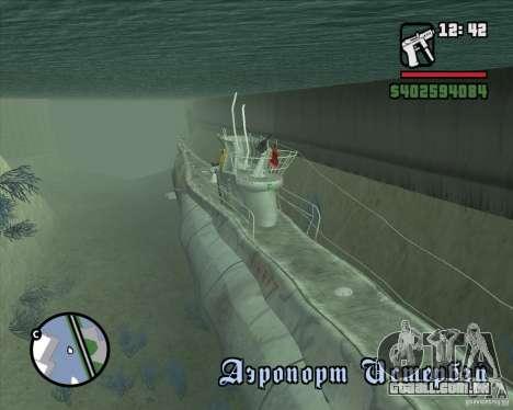 U99 German Submarine para GTA San Andreas segunda tela