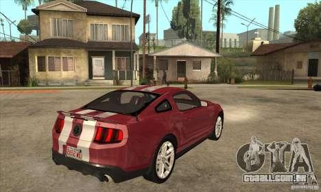 Shelby GT500 2010 para GTA San Andreas vista direita