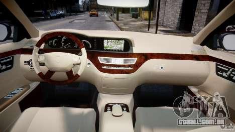 Mercedes-Benz S-Class 2007 para GTA 4 vista inferior
