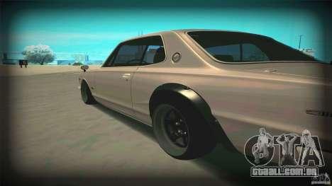 Nissan Skyline 2000GT-R JDM Style para GTA San Andreas traseira esquerda vista