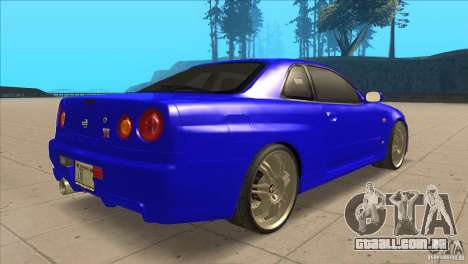 Nissan Skyline R34 FNF4 para GTA San Andreas vista direita