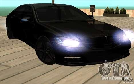 Mercedes-Benz S65 AMG com luzes piscando para GTA San Andreas vista interior