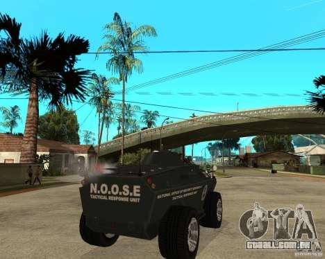 O APC de GTA IV para GTA San Andreas traseira esquerda vista