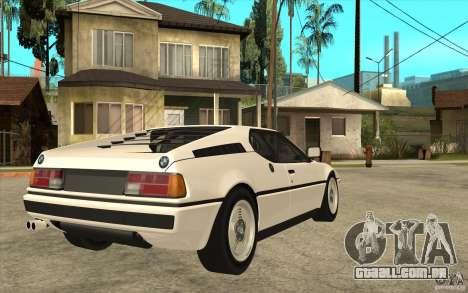 BMW M1 1981 para GTA San Andreas vista direita
