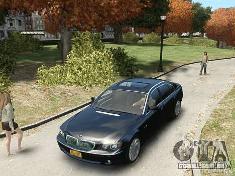 BMW 7 Series E66 2011 para GTA 4 vista de volta