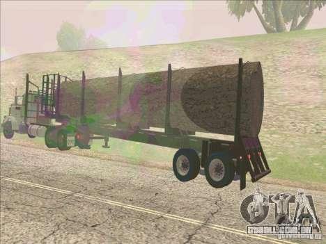 Reboque, Peterbilt 379 para GTA San Andreas traseira esquerda vista