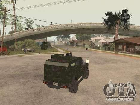 Oshkosh SandCat of Mexican Army para GTA San Andreas traseira esquerda vista