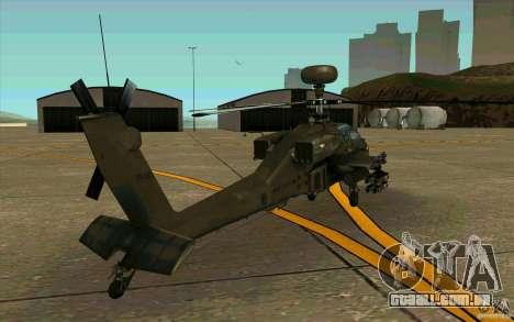 Apache AH64D Longbow para GTA San Andreas vista direita