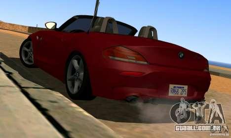BMW Z4 2010 para GTA San Andreas traseira esquerda vista