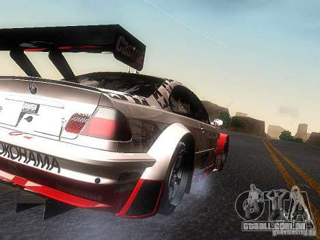BMW M3 GTR1 para GTA San Andreas traseira esquerda vista