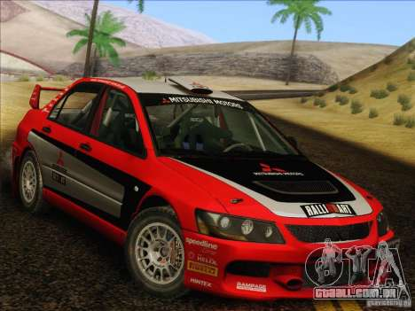 Mitsubishi Lancer Evolution IX Rally para vista lateral GTA San Andreas