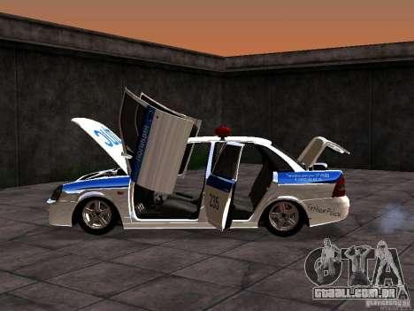LADA 2170 polícia para GTA San Andreas vista traseira