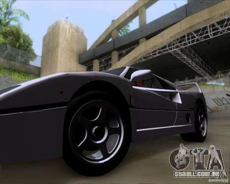 Ferrari F40 para GTA San Andreas vista traseira