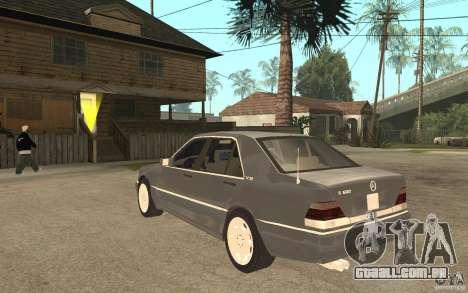 Mercedes-Benz S600 W140 para GTA San Andreas traseira esquerda vista