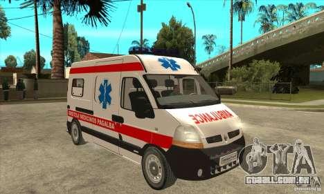 Renault Master Ambulance para GTA San Andreas vista traseira