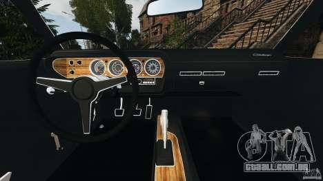 Dodge Challenger RT 1970 v2.0 para GTA 4 vista de volta