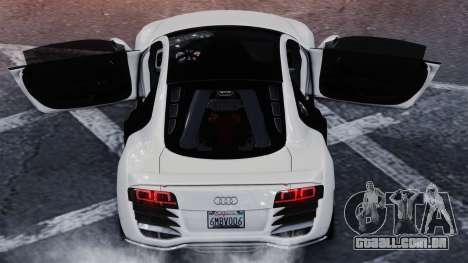 Audi R8 LeMans para GTA 4 traseira esquerda vista