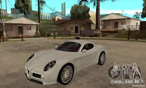 Alfa Romeo 8 c Competizione estoque para GTA San Andreas esquerda vista