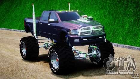 Dodge Ram 3500 2010 Monster Bigfut para GTA 4 vista de volta