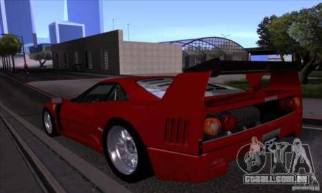 Ferrari F40 GTE LM para GTA San Andreas vista superior