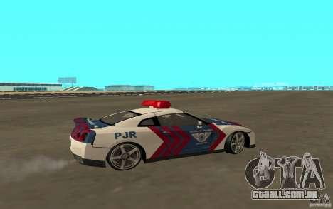 Nissan GT-R R35 Indonesia Police para GTA San Andreas traseira esquerda vista