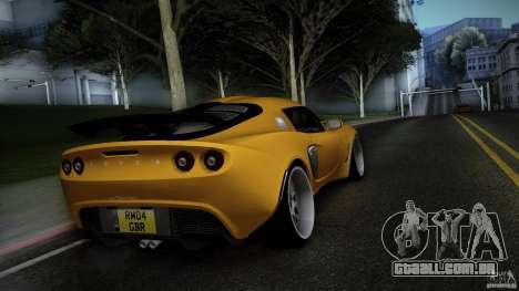 Lotus Exige Track Car para GTA San Andreas traseira esquerda vista