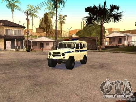 Polícia UAZ para GTA San Andreas vista traseira