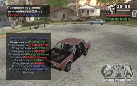 Extreme Car Control v.2.0 para GTA San Andreas segunda tela