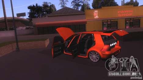 Volkswagen Golf IV para GTA San Andreas vista interior