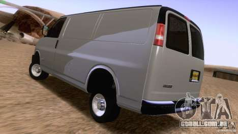 Chevrolet Savana 3500 Cargo Van para GTA San Andreas traseira esquerda vista
