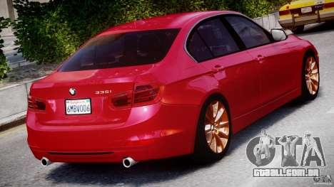 BMW 335i E30 2012 Sport Line v1.0 para GTA 4 vista superior