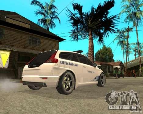 VOLVO C30 SAFETY CAR STCC v2.0 para GTA San Andreas traseira esquerda vista