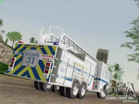 Pierce Puc Aerials. Bone County Fire & Ladder 79 para GTA San Andreas esquerda vista