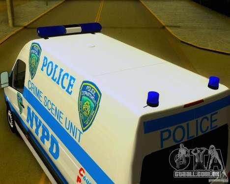 Mercedes Benz Sprinter NYPD police para GTA San Andreas vista direita
