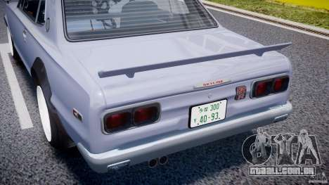 Nissan Skyline 2000 GT-R Drift Tuning para GTA 4 vista superior