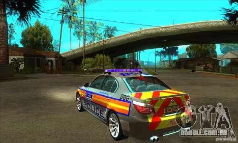 Metropolitan Police BMW 5 Series Saloon para GTA San Andreas traseira esquerda vista
