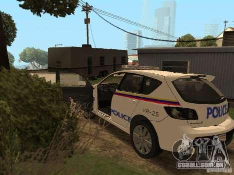 Mazda 3 Police para GTA San Andreas vista interior
