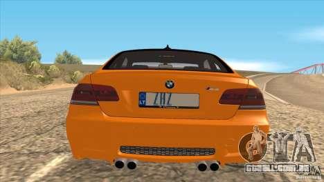 BMW M3 E92 para GTA San Andreas vista traseira