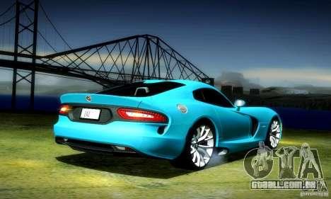Dodge Viper SRT  GTS para GTA San Andreas traseira esquerda vista