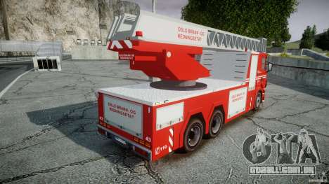 Scania Fire Ladder v1.1 Emerglights blue-red ELS para GTA 4 vista superior