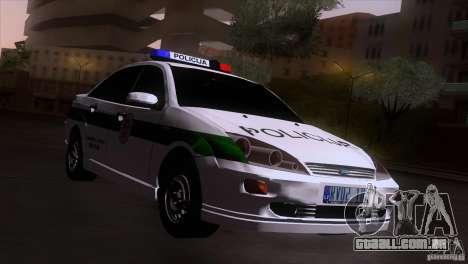 Ford Focus Policija para GTA San Andreas traseira esquerda vista