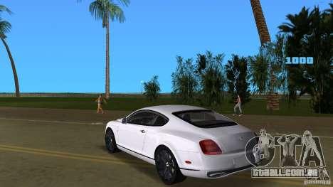 Bentley Continental Supersport para GTA Vice City vista traseira esquerda
