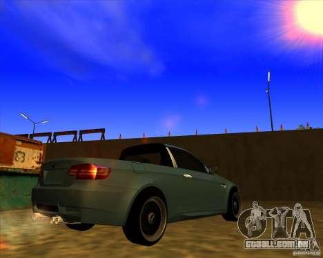 BMW M3 E90 pickup para GTA San Andreas traseira esquerda vista