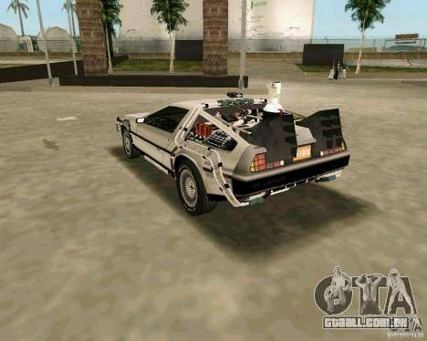 BTTF DeLorean DMC 12 para GTA Vice City vista traseira