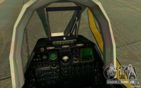 A-10 Warthog para GTA San Andreas vista interior
