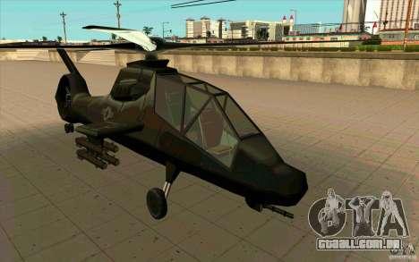 Sikorsky RAH-66 Comanche stealth green para GTA San Andreas traseira esquerda vista