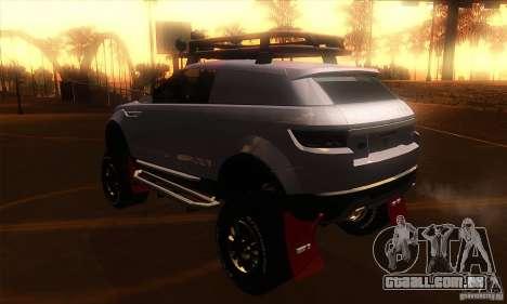 Land Rover Evoque para GTA San Andreas traseira esquerda vista